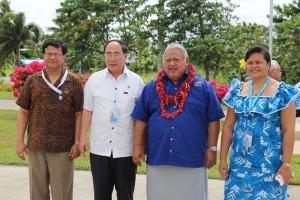 L-R: Nikhil Seth, His Excellency Mr Wu Hongbo, Honourable Prime Minister Tuilaepa Sailele Malielegaoi, Faalavaau Perina Sila at the Hand-over ceremony at Tuanaimato
