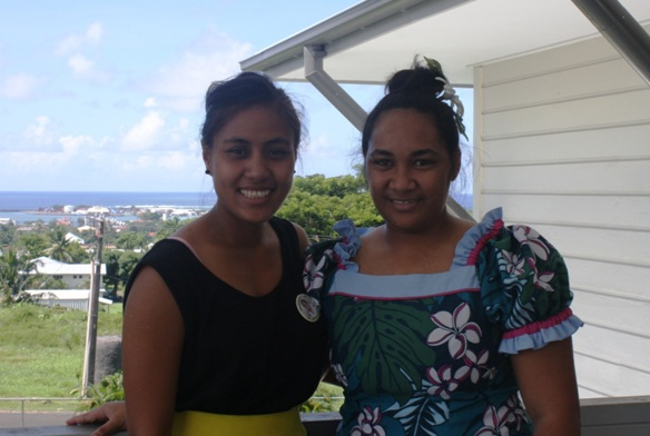 POLHN students, Makerita Ieremia and Vanessa Samuelu (left to right), at the Health Professional Credentialing Centre, Motootua.