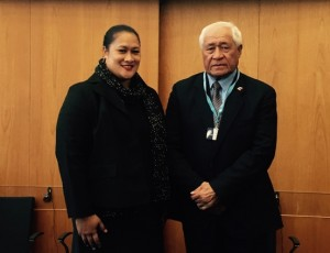Afioga Tuitama Dr. Leao Talalelei Tuitama, Minister of Health attending 1st Meeting of GCM NCD Working Group with Ms Rumanusina Maua ACEO Ministry of Health.