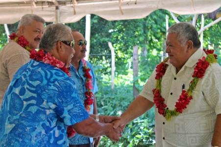 Prime Minister Tuilaepa greets matai
