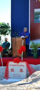 PM Tuilaepa delivers keynote speech at the groundbreaking ceremony to launch the upgrading works for the Faleolo International Airport Terminal.