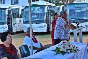 PM Tuilaepa addresses representatives of the 12 schools, community groups, church groups & Government entities about to receive their SIDS buses.