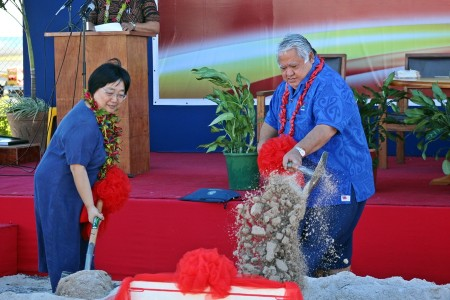 PM Tuilaepa and the Chinese Ambassador to Samoa at the groundbreaking ceremony to launch the upgrading works for the Faleolo International Airport Terminal.