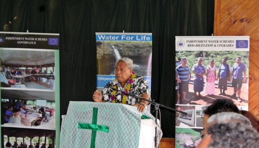 Tolofuaivalelei delivers the keynote speech at the Safata Independent Water Schemes launch
