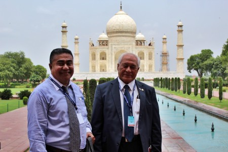 CEO of Finance Lavea and Minister of Health Tuitama tour the Taj Mahal prior to the private and public sector presentations preceding the FIPIC Summit.