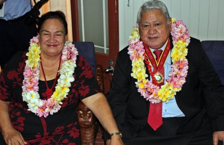 Honourable Prime Minister, Susuga Tuilaepa Sailele Malielegaoi and his good lady Gillian during the cultural performance by the Samoan students