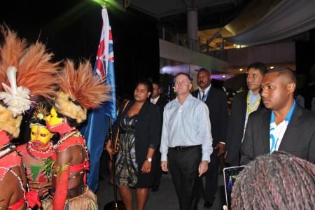 NZ PM John Key arrives at POMPIF2015