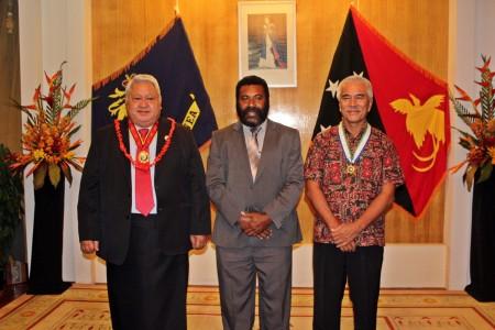 PM Tuilaepa Sailele Malielegaoi, Papua New Guinea's Acting Governor General, Hon. Theodore Zurenuoc and Kiribati's President, HE Anote Tong