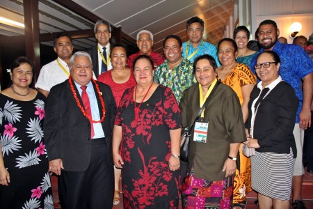 PM Tuilaepa and his good lady Gillian Malielegaoi with the Samoan delegates, members of the Samoan community in PNG and Samoa's Ambassadors stationed across the world.