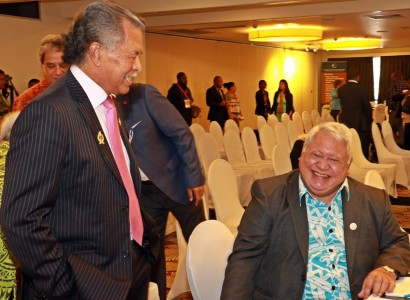 PM Tuilaepa and PM Henry Puna of the Cook Islands share a laugh at the Pacific ACP Leaders' Meeting