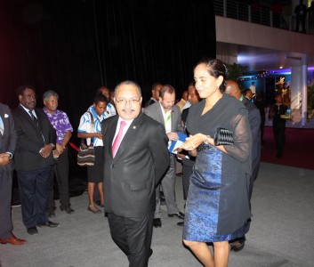 Peter O'Neill and his good lady arrive at the Opening of POMPIF2015