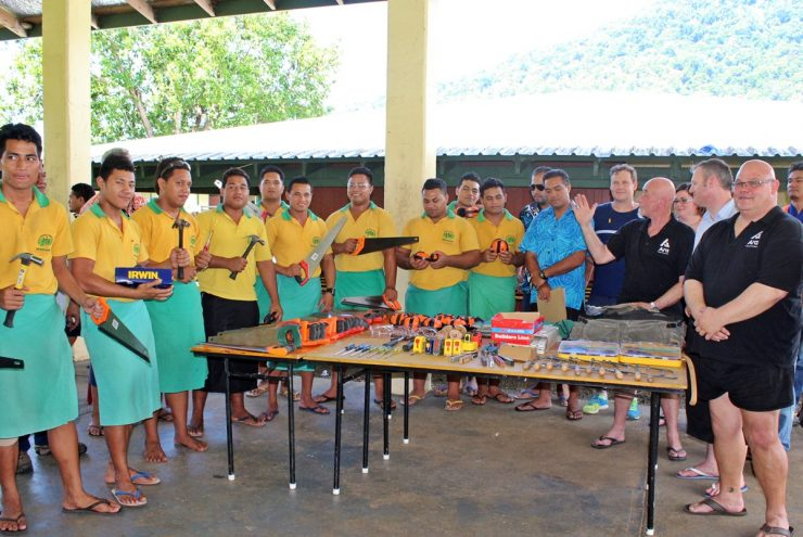Don Bosco Students showing off their new equipment from Ara Institute of Canterbury