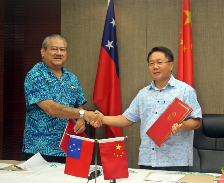 Minister of Works, Transport and Infrastructure and China's Ambassador to Samoa