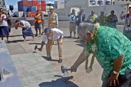 Prime Minister Tuilaepa and Ambassador Tuimaugaoalii Kazumasa Shibuta break ground at Apia Port