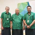 GCF Opening - PM Tuilaepa Sailele Malielegaoi at centre, with Meeting Co-Chairs (L) Ewen McDonald of Australia and (R) Zaheer Fakir of South Africa