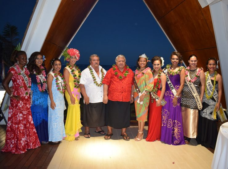 Tuilaepa and Sala with Miss Pacific Islands Contestants 2016
