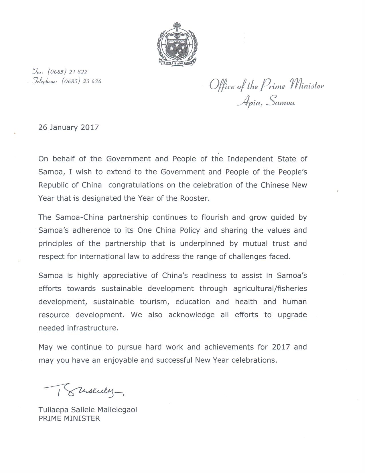 new year letter news page 2 government of samoa 23774 | PM Chinese New Year Message 2017